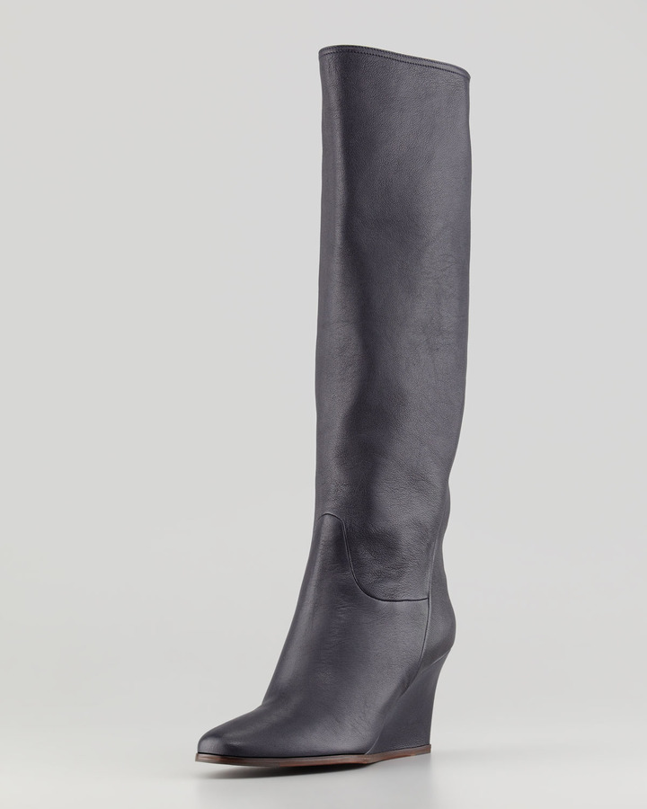 Lanvin Leather Wedge Knee Boot, Midnight