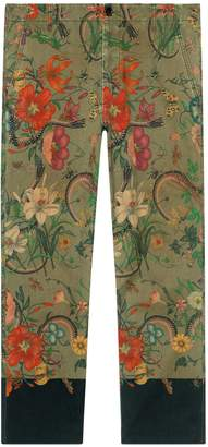Gucci Flora Snake print cotton chino