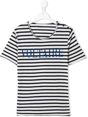 Zadig & Voltaire Kids logo striped T-shirt