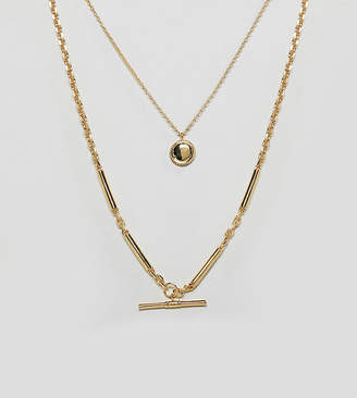 Asos Design DESIGN Premium gold plated multirow necklace with etched disc and toggle