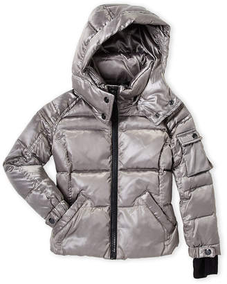 S13 Toddler Girls) Platinum Quilted Hooded Coat