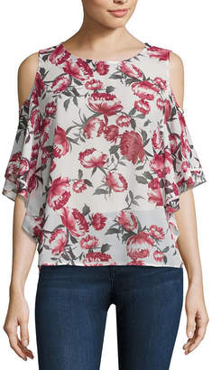 Buffalo David Bitton Cold Shoulder Flutter Top