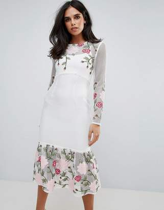 Forever Unique Long Sleeve Floral Placement Dress With Peplum