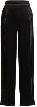 Valentino High Rise Hammered Silk Satin Wide Leg Trousers - Womens - Black