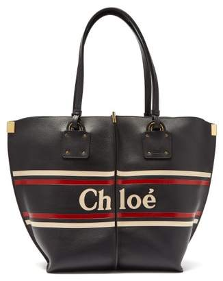 Chloé Vick Logo Stripe Leather Tote - Womens - Navy Multi bdf257e2dd674