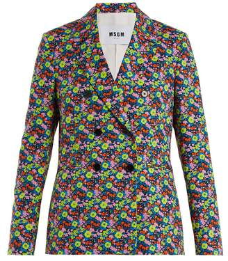 MSGM Floral-print cotton-twill blazer