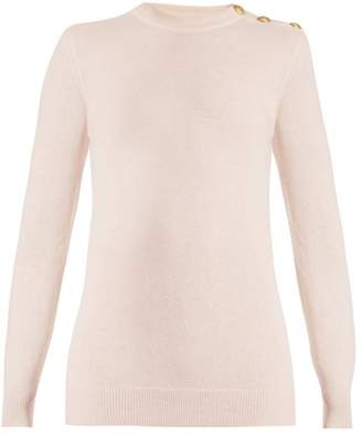 Balmain Button Shoulder Crew Neck Wool Blend Sweater - Womens - Light Pink
