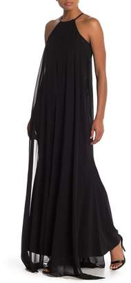 Carmen Marc Valvo Halter Neck Cutaway Chiffon Maxi Dress