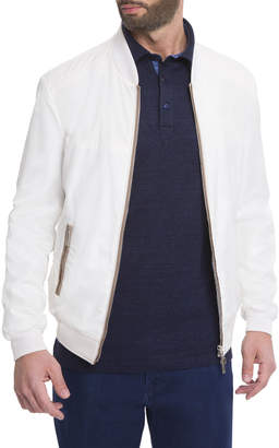 Stefano Ricci Silk Contrast-Piping Bomber Jacket, White
