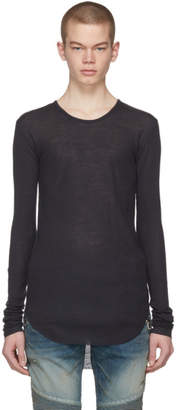 Balmain Navy Long Sleeve Ribbed T-Shirt