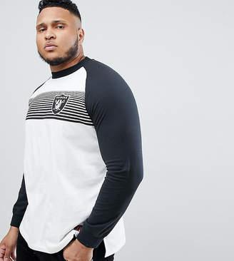 Majestic Raglan Long Sleeve T-Shirt With Raiders Panel Print In White