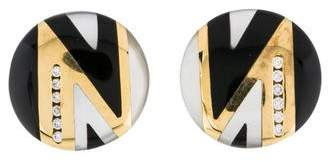 Mother of Pearl Asch Grossbardt 14K Onyx, & Diamond Earrings