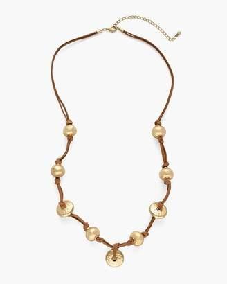 Gold-Tone Suede Pendant Necklace