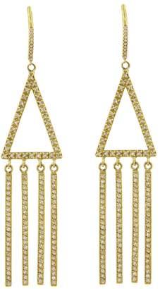 Jennifer Meyer Diamond Pavé Triangle with Fringe Earrings - Yellow Gold