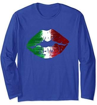Italian Flag Kiss Me I'm Italian Lips Long Sleeve Tshirt