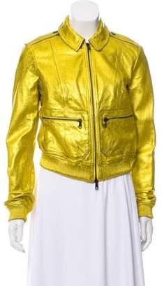 Burberry Leather Metallic Jacket