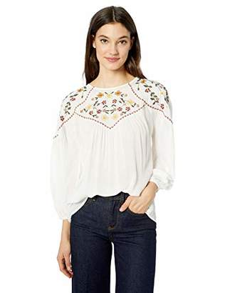 Serene Bohemian Women's Top with Embroidered Yoke Panels (