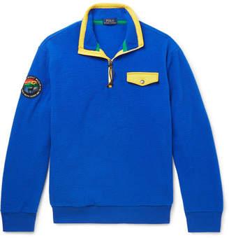 Polo Ralph Lauren Contrast-trimmed Fleece Half-zip Sweatshirt - Royal blue