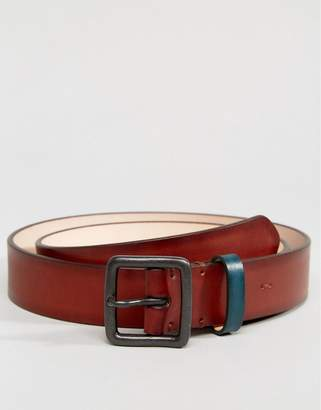Paul Smith Burnished Leather Contrast Keeper In Tan