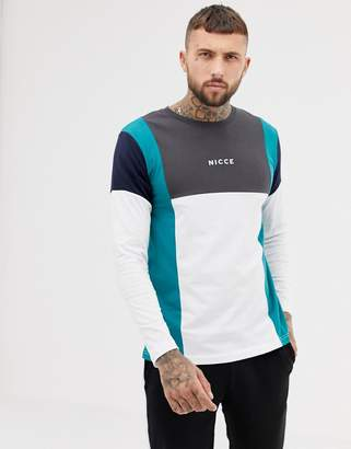 Nicce London long sleeve t-shirt in white with color blocking