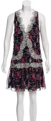 Wes Gordon Lace-Trimmed Sleeveless Dress