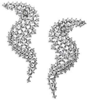 Adriana Orsini Leia Wave Drop Crystal& Rhodium-Plated Earrings