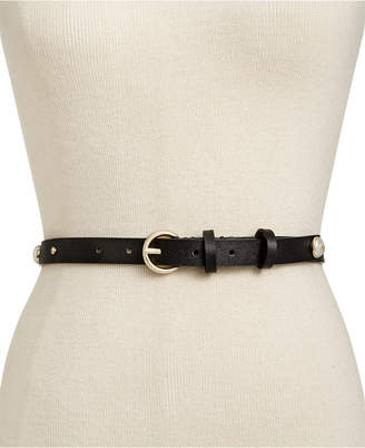 Kate Spade Imitation Pearl Stud Leather Belt