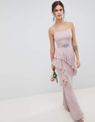 Asos DESIGN Ruffle Cami Maxi Dress With Embellished Belt