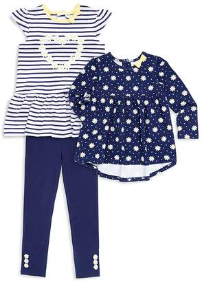 Little Me Little Girl's Three-Piece Daisy Striped Tunic, Floral Top and Leggings Set