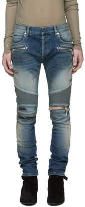Balmain Blue Burnt Vintage Biker Jeans