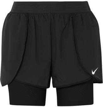 Nike Flex Bliss Layered Stretch-shell And Mesh Shorts