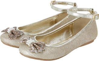 Monsoon Pearl & Glitter Bow Ballerina Shoes