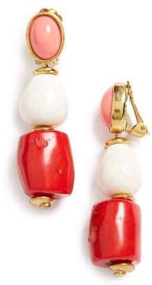 Women's Oscar De La Renta Semiprecious Stone Bead Clip Earrings $325 thestylecure.com