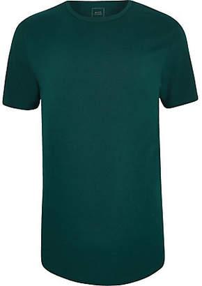 River Island Teal longline curved hem T-shirt