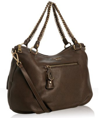 Prada brown deerskin zip front shoulder bag