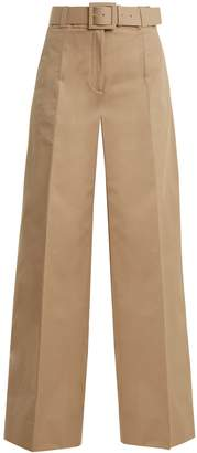 High-rise wide-leg cotton-blend trousers
