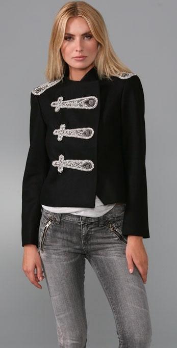 Alice + Olivia Shrunken Military Jacket with Embellishments