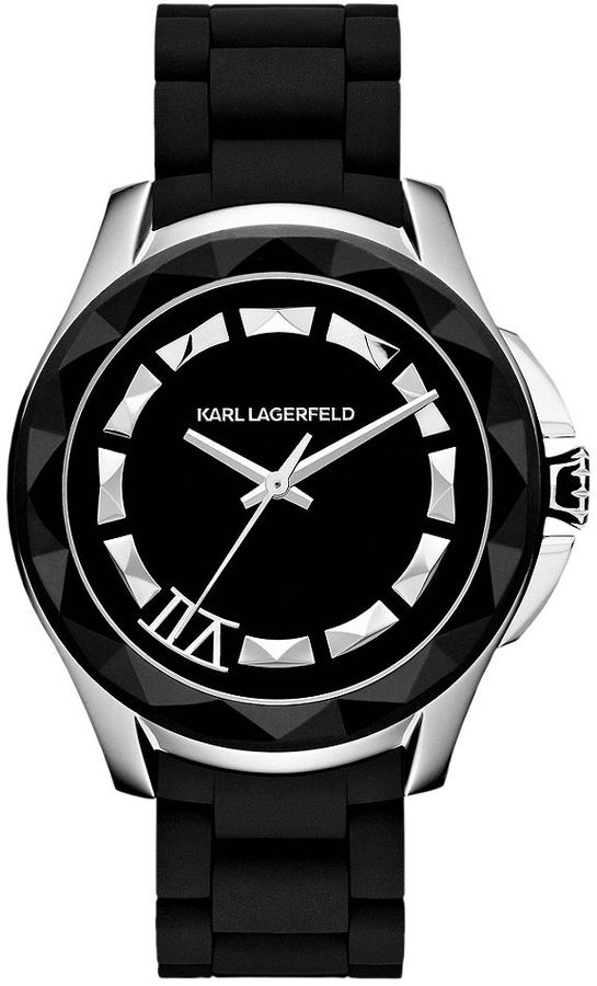 Karl Lagerfeld Unisex Black Silicone-Wrapped Stainless Steel Bracelet Watch 44mm KL1013