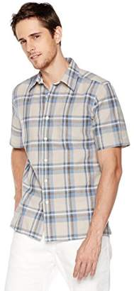 Isle Bay Linens Men's Short Sleeve Plaid Slim Woven Hawaiian Shirt M