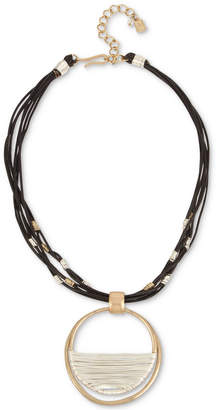 Robert Lee Morris Soho Two-Tone Leather Wire Wrapped Pendant Necklace