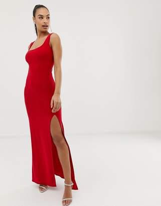 31252383b57 Club L London square neck detail slinky maxi dress