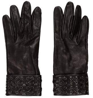 Hermes Leather Woven-Trimmed Gloves