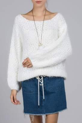 POL Fuzzy-Alpaca Wide-Neck Sweater
