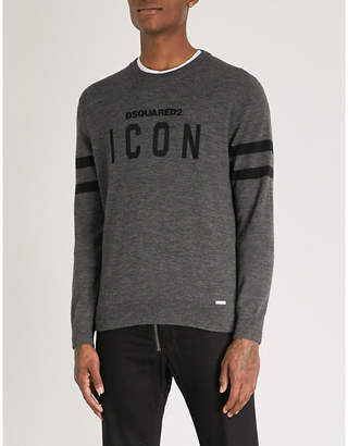 DSQUARED2 Icon-appliquéd wool-blend jumper