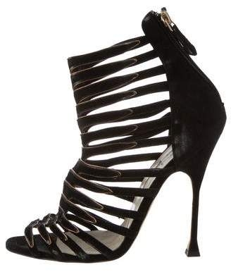 Brian Atwood Suede Cage Ankle Boots