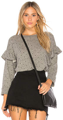 Current/Elliott The Ruffle Sweatshirt with Mini Polka Stars