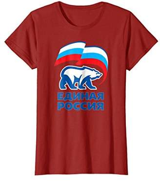 Russia T-Shirt United Party Cool Russian Flag White Bear Tee