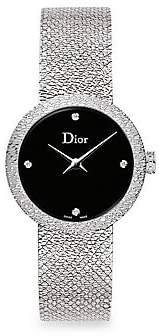 Christian Dior Women's La D De 25MM Black Satine Stainless Steel Bracelet Watch