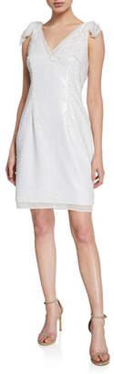 Aidan Mattox Sequin Sleeveless Mini Cocktail Dress with Bow Straps