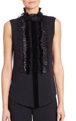 Ralph Lauren Collection Adeena Ruffle-Bib Silk Blouse